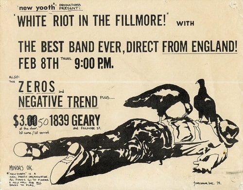 79 02 08 Clash white riot fillmore poster Danny Croft