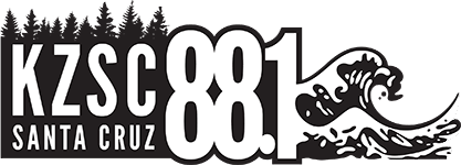 "A silhouette of trees in black, with the words ""KZSC Santa Cruz 88.1"" in white, with a wave coming out of the 1."